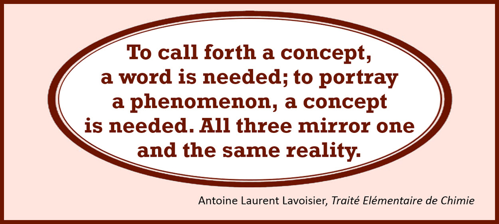To call forth a concept, a word is needed; to portray a phenomenon, a concept is needed. All three mirror one and the same reality. –Antoine Laurent Lavoisier, Traité Elémentaire de Chimie